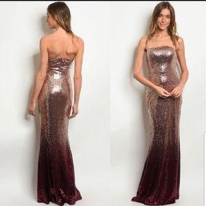 Blush Burgundy Sequin Maxi Dress